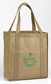 LARGE OPEN TOTE w/GO GREEN GO GOLF